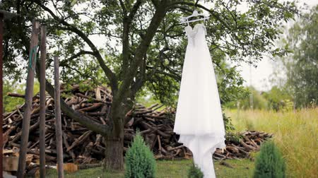 ramínko : Luxury White Wedding Dress with Rhinestones is Hanging on a Tree near a Pile of Firewood during Bride Preparation