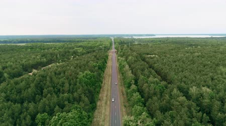 way out : Cinematic Aerial View of Cars Driving on Country asphalt Road in Forest with Lake on Summer Day. 4K Drone View Landscape Zooming Out backward Fly over shot