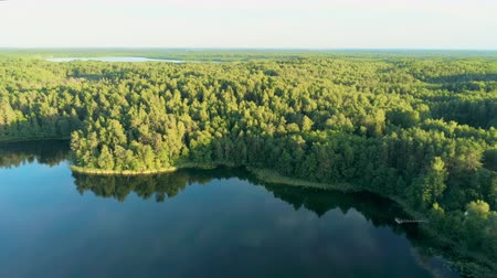 idílio : Natural Idyll - Aerial View of Amazing Lake in Dense Green Forest in Summer with Beautiful Sunlight, Belarus, Europe. Epic Ecotourism Place with Nature Landscape.