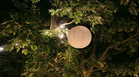 hanglamp : Event Decoration: Big White Paper Ball Lampshade Hanging on Tree with Light Garland Outdoors at Summer Night. Static 4K Shot Stockvideo