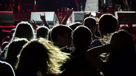 rock concert : Spectator fan shaking head with long hair around enjoying a rock concert slow motion Stock Footage