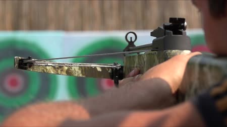 прицеливание : man shoots a bow at a target, Slow Motion