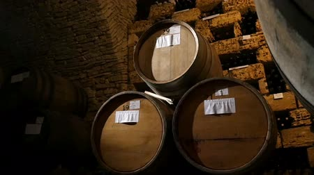stary : Dolly shot of the rack of barrels of alcohol in a wine cellar