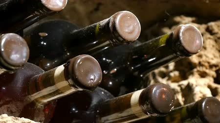 vinho : Wine bottles in a wine cellar, slow left pan