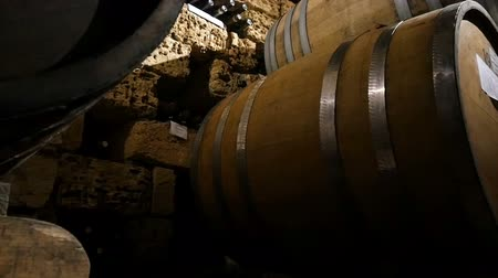 pince : Dolly shot of the old wine cellar with barrels