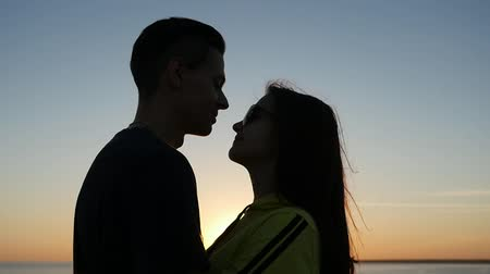 passionate : Profile of an enamored pair embracing each other, smiling and enjoying life at a gorgeous sunset on the Black Sea shore in summer. Stock Footage