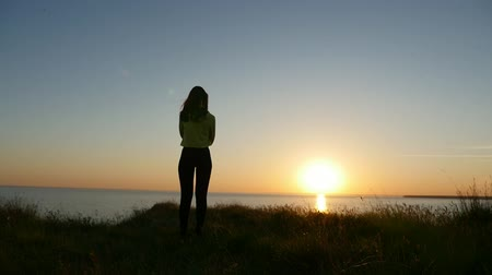 blúz : Back view of a romantic girl in jeans and a blouse standing on the Black Sea coast and thinking about her love at sunset with a nice sun path in summer Stock mozgókép
