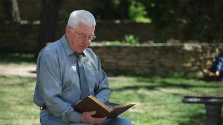 развлекательный : Portrait of a thoughtful elder man in a grey shirt and glasses sitting on a bench and reading a book near a nice lawn on a sunny day in summer Стоковые видеозаписи