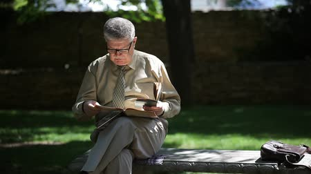 впечатляющий : Portrait of a cheery old man sitting on a bench and reading two books in a picturesque park with green lawns on a sunny day in summer Стоковые видеозаписи