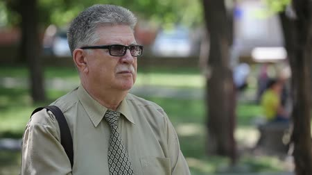 caqui : Portrait of a grey-haired journalist with mustashe in a khaki shirt and a necktie standing and thinking in an alley with a green lawn in summe Stock Footage