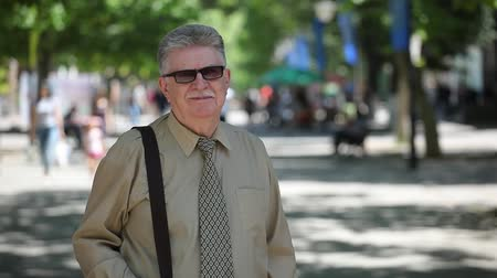 khaki : Portrait of a senior man with mustashe and sunglasses dressed in a khaki shirt and necktie standing and smiling on a sunny day in summer. Stock Footage