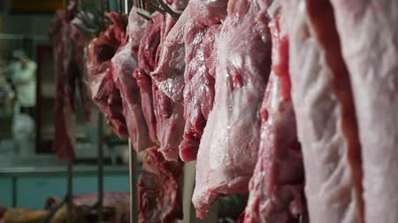 heyecan verici : Exciting closeup of raw meat pieces hanging on an automated conveyor inside of a large food warehouse. There is pork, beef and mutton.