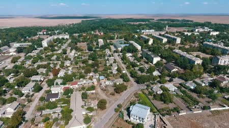 bird sanctuary : Wonderful bird`s eye shot of Askania-Nova settlement, the headquarters of Taurida steppe biosphere sanctuary with buildings, lawns and parks in summer