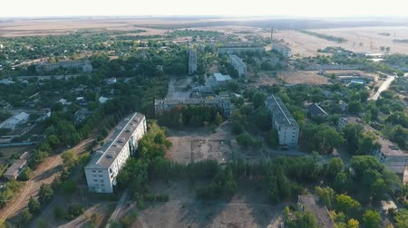 bird sanctuary : Remarkable bird`s eye shot of Askania-Nova village, the center of Taurida steppe biosphere reserve with multistory houses and parks in summer