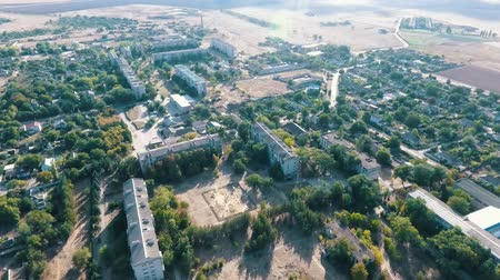 bird sanctuary : Beautiful bird`s eye shot of Askania-Nova village, the center of Oleshky sands biosphere sanctuary, with petite buildings and parks in summer