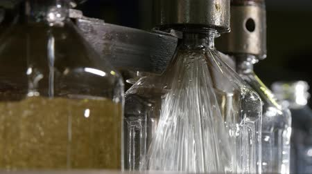 literário : Closeup of circular metallic sprinklers jumping up and down and pouring oil in plastic one liter bottles on conveyor at oil production plant. Stock Footage