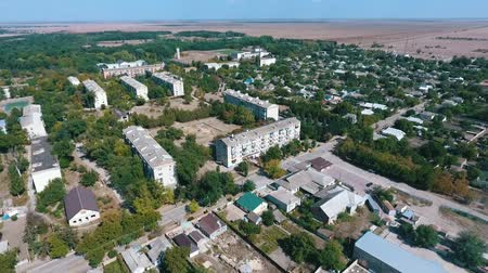 bird sanctuary : Splendid bird`s eye shot of Askania-Nova village, the center of Taurida steppe bio-reserve with various facilities, streets, and gardens in summer
