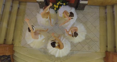 poddasze : Five Young and Gorgeous Ballerinas Synchronously Dancing