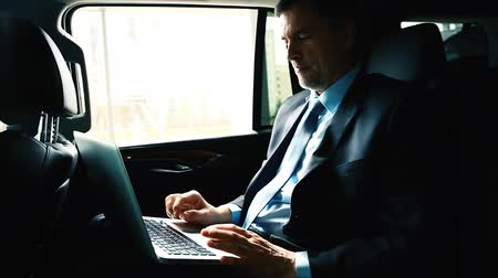 erişilebilirlik : Businessman Riding in Back Seat of Car Working on Laptop.