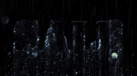 product promo : Under the rain Sale 3D text on black background. Sale 3D text letters showing from the rain. Inscription drawn from water for motion posters, banners. Available in HD video footage.
