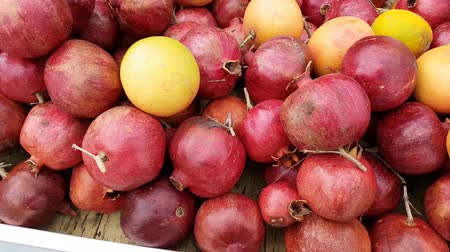 Fresh pomegranate and orange fruits for sale.