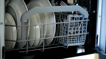 dish : FullHD video of opening dish washer close-up