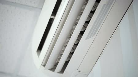 from air : White air-conditioner  close-up. FullHD video