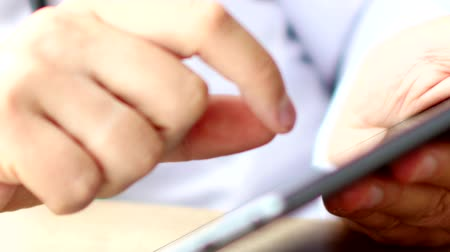 touching screen : Medical doctor using touchscreen digital tablet