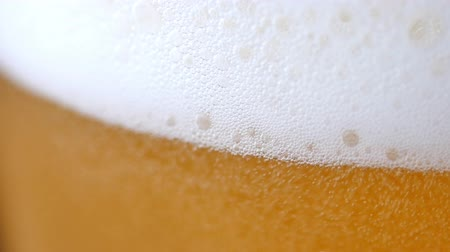 craft beer : Cold Light Beer in a glass. Stock Footage