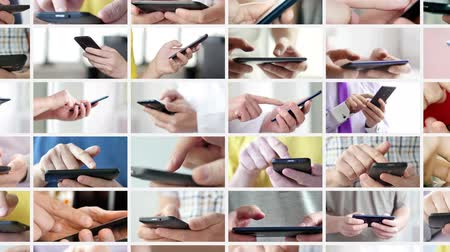 aplicativo : Close-up of hands holding smartphone. Collage