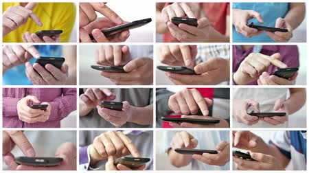 キーパッド : collage of man using apps on a mobile touchscreen smartphone 動画素材
