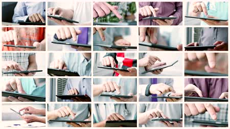 Collage of sliding and typing touch screen of smart phone or tablet computer