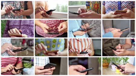 sending : Close-up of young woman hands typing sms Stock Footage