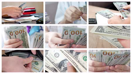 Collage of different people counting money. of a lot of money