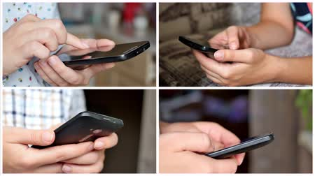 Multiscreen collage of different people hands typing SMS on smartphones.