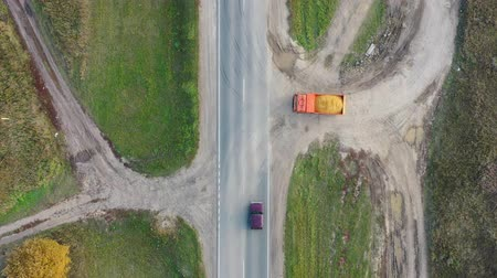pedreira : Aerial top view from drone on a heavy truck with sand