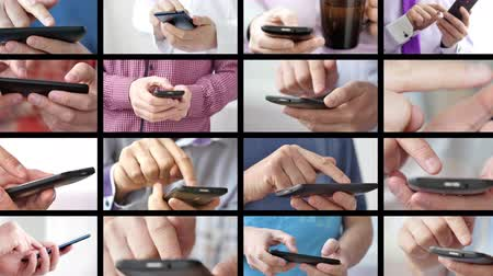 сотовый телефон : Close-up of hands holding smartphone and typing text on touch screen