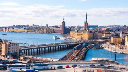 estocolmo : Timelapse video of Stockholm cityscape in Sweden, Time lapse 4k