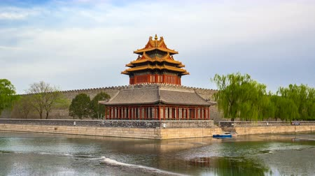 углы : Time lapse video of Guard Tower at The Forbidden City in Beijing, China, timelapse 4k