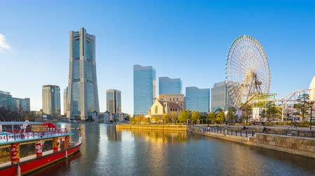minato : Timelapse of Yokohama city skyline in Japan, 4k time lapse Stock Footage