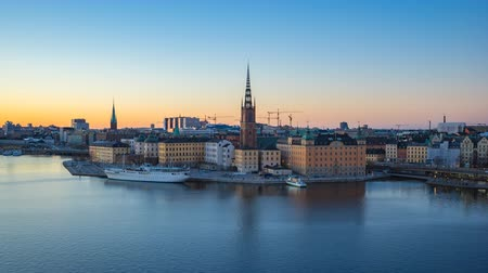 stockholm : Day to Night video time lapse of Stockholm city skyline Gamla Stan timelapse, video 4K