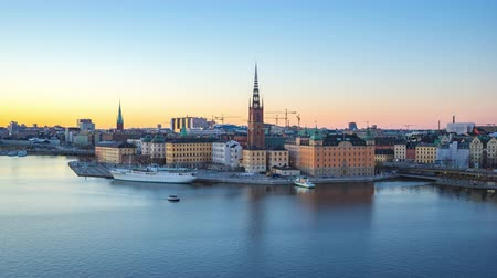 stockholm : Aerial view of Stockholm Gamla Stan skyline day to night Timelapse in Sweden, Time Lapse Stock Footage