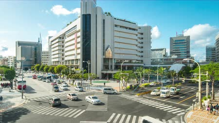 crossing road : Timelapse video of Okinawa Kencho-mae downtown of Naha, Okinawa, Japan Time Lapse 4K Stock Footage