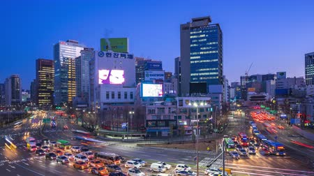 seoul : Time lapse video of Seoul city traffic street in Seoul, South Korea