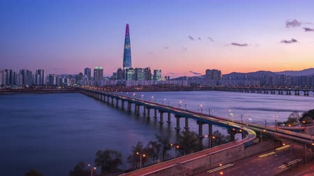 han river : Time lapse video of Seoul city skyline in South Korea, timelapse 4K Stock Footage