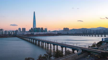 han river : Day to Night timelapse video of Seoul cityscape skyline in South Korea, time lapse 4K