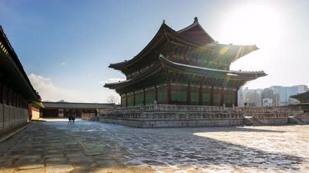 gyeongbok : Time Lapse video of Gyeongbokgung Palace in Seoul, South Korea timelapse 4K Stock Footage