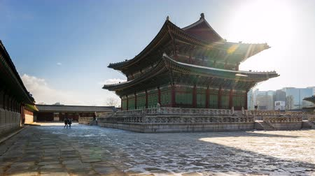 gyeongbokgung : Time Lapse video of Gyeongbokgung Palace landmark in Seoul, South Korea timelapse 4K Stock Footage