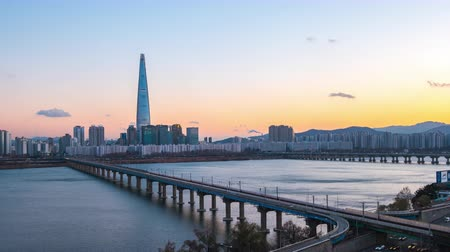 han river : Day to Night time lapse video of Seoul cityscape skyline timelapse 4K
