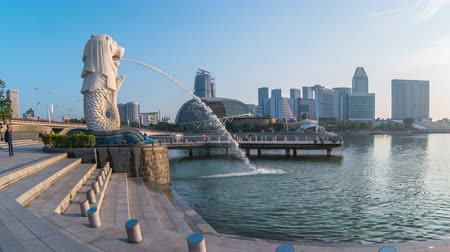 singapur : Time lapse of Merlion with landmark buildings in Singapore city timelapse Stok Video